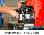 professional man barista...   Shutterstock . vector #675187885