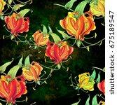 gloriosa.seamless pattern.... | Shutterstock . vector #675189547