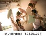 family having funny pillow... | Shutterstock . vector #675201337