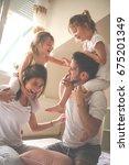 family spending free time at... | Shutterstock . vector #675201349