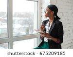 smiled girl with dark shiny... | Shutterstock . vector #675209185