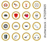 rock music icons circle gold in ... | Shutterstock .eps vector #675209605