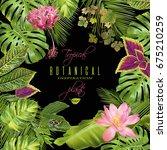 vector tropical plants frame... | Shutterstock .eps vector #675210259