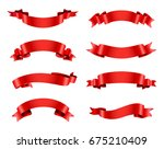 ribbon banner set.vector red... | Shutterstock .eps vector #675210409