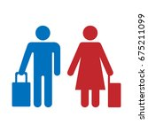 travelers woman and man with... | Shutterstock .eps vector #675211099