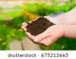 close up soil in hands. ecology ... | Shutterstock . vector #675212665