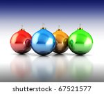 3d illustration of four colorful xmas balls over white and blue background - stock photo