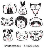 vector set of cute happy animal ... | Shutterstock .eps vector #675218221