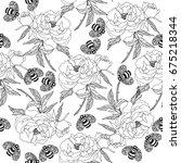 vector floral endless pattern... | Shutterstock .eps vector #675218344