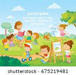 children's activities  at the... | Shutterstock .eps vector #675219481
