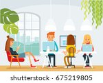 freelancers working together.... | Shutterstock .eps vector #675219805
