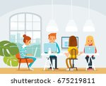 freelancers working in co... | Shutterstock .eps vector #675219811