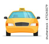flat design taxi car front view.... | Shutterstock .eps vector #675243079