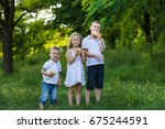 sister and two brothers in the... | Shutterstock . vector #675244591