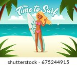 surf time background. girl with ... | Shutterstock .eps vector #675244915