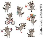 funny raccoons. set of vector... | Shutterstock .eps vector #675247999