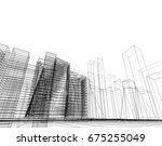 city  architecture abstract  3d ... | Shutterstock . vector #675255049