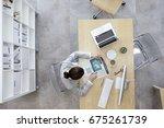 businesswoman working in office | Shutterstock . vector #675261739