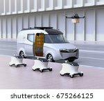 fleet of self driving delivery... | Shutterstock . vector #675266125