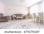 white apartment interior design ... | Shutterstock . vector #675270187