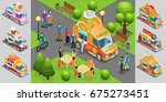 isometric street food template... | Shutterstock .eps vector #675273451