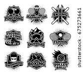 monochrome sport logos set of... | Shutterstock .eps vector #675273661