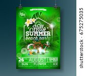 vector summer beach party flyer ... | Shutterstock .eps vector #675275035
