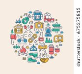 camping card with camp icons...   Shutterstock . vector #675275815
