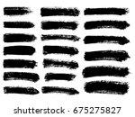 set of black paint  ink brush...   Shutterstock .eps vector #675275827
