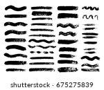 set of black paint  ink brush... | Shutterstock .eps vector #675275839
