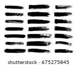set of black paint  ink brush... | Shutterstock .eps vector #675275845
