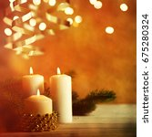 christmas candles and ornaments ... | Shutterstock . vector #675280324