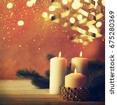 christmas candles and ornaments ...   Shutterstock . vector #675280369