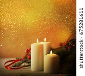christmas candles and ornaments ...   Shutterstock . vector #675281611