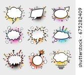 comic empty speech bubbles on... | Shutterstock .eps vector #675282409