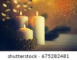 christmas candles and ornaments ...   Shutterstock . vector #675282481