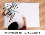 creative child drawing with... | Shutterstock . vector #675283045