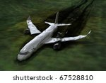 Airplane crash, 3d image, My own design - stock photo