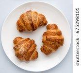 Croissants In A Plate On A...