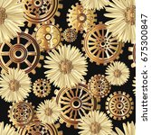 seamless pattern with chamomile ... | Shutterstock .eps vector #675300847