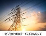 high voltage post or high... | Shutterstock . vector #675302371