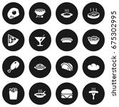 set of 16 eat icons set... | Shutterstock .eps vector #675302995