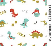 seamless cartoon dinosaurs... | Shutterstock .eps vector #675305665