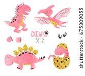 cute little dinosaurs set in... | Shutterstock .eps vector #675309055