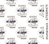 surfing old style car pattern... | Shutterstock .eps vector #675309475