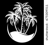 palm tree and waves of a night... | Shutterstock . vector #675309511
