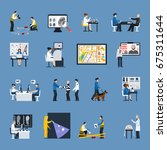 set of flat icons with crime...   Shutterstock .eps vector #675311644