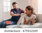 serious father looking at... | Shutterstock . vector #675312205