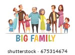 big happy harmonious family... | Shutterstock .eps vector #675314674