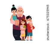 family portrait  grandfather ... | Shutterstock .eps vector #675325945